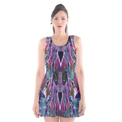 Sly Dog Modern Grunge Style Blue Pink Violet Scoop Neck Skater Dress