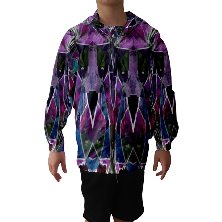 Sly Dog Modern Grunge Style Blue Pink Violet Hooded Wind Breaker (Kids)