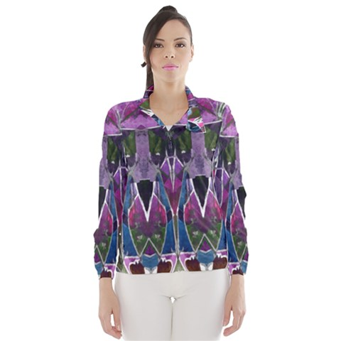 Sly Dog Modern Grunge Style Blue Pink Violet Wind Breaker (Women)