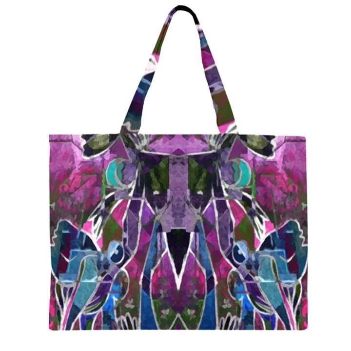 Sly Dog Modern Grunge Style Blue Pink Violet Large Tote Bag