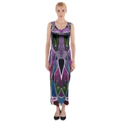 Sly Dog Modern Grunge Style Blue Pink Violet Fitted Maxi Dress