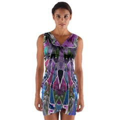 Sly Dog Modern Grunge Style Blue Pink Violet Wrap Front Bodycon Dress