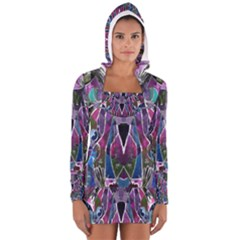 Sly Dog Modern Grunge Style Blue Pink Violet Women s Long Sleeve Hooded T Shirt