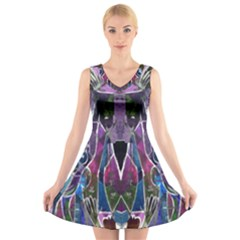 Sly Dog Modern Grunge Style Blue Pink Violet V-Neck Sleeveless Skater Dress