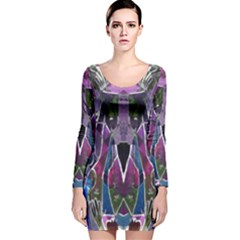 Sly Dog Modern Grunge Style Blue Pink Violet Long Sleeve Velvet Bodycon Dress