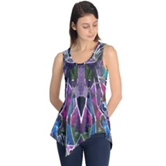 Sly Dog Modern Grunge Style Blue Pink Violet Sleeveless Tunic