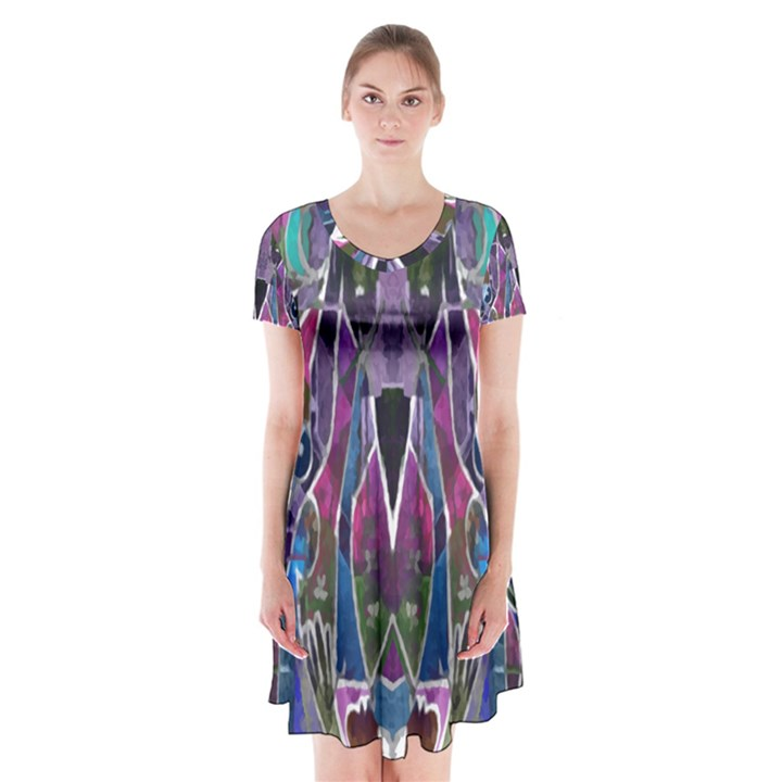 Sly Dog Modern Grunge Style Blue Pink Violet Short Sleeve V-neck Flare Dress