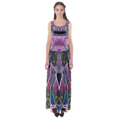 Sly Dog Modern Grunge Style Blue Pink Violet Empire Waist Maxi Dress