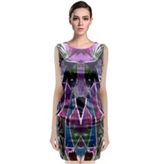 Sly Dog Modern Grunge Style Blue Pink Violet Classic Sleeveless Midi Dress