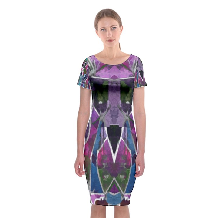 Sly Dog Modern Grunge Style Blue Pink Violet Classic Short Sleeve Midi Dress