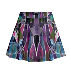 Sly Dog Modern Grunge Style Blue Pink Violet Mini Flare Skirt