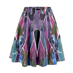 Sly Dog Modern Grunge Style Blue Pink Violet High Waist Skirt