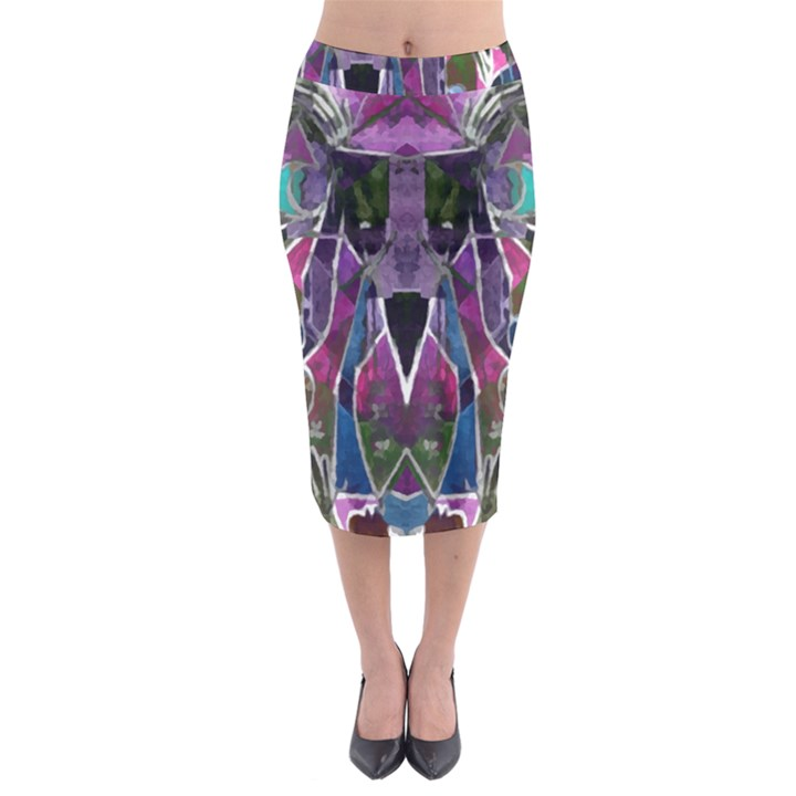 Sly Dog Modern Grunge Style Blue Pink Violet Midi Pencil Skirt