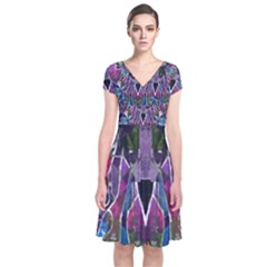 Sly Dog Modern Grunge Style Blue Pink Violet Short Sleeve Front Wrap Dress