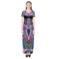 Sly Dog Modern Grunge Style Blue Pink Violet Short Sleeve Maxi Dress