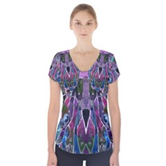 Sly Dog Modern Grunge Style Blue Pink Violet Short Sleeve Front Detail Top