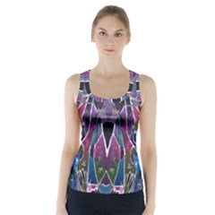 Sly Dog Modern Grunge Style Blue Pink Violet Racer Back Sports Top