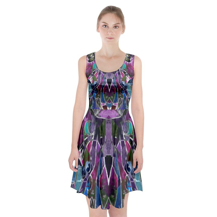 Sly Dog Modern Grunge Style Blue Pink Violet Racerback Midi Dress