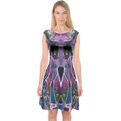 Sly Dog Modern Grunge Style Blue Pink Violet Capsleeve Midi Dress