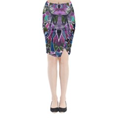 Sly Dog Modern Grunge Style Blue Pink Violet Midi Wrap Pencil Skirt