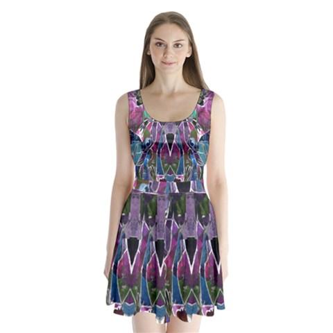 Sly Dog Modern Grunge Style Blue Pink Violet Split Back Mini Dress