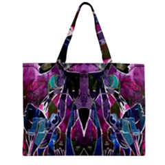 Sly Dog Modern Grunge Style Blue Pink Violet Medium Zipper Tote Bag