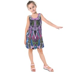 Sly Dog Modern Grunge Style Blue Pink Violet Kids  Sleeveless Dress