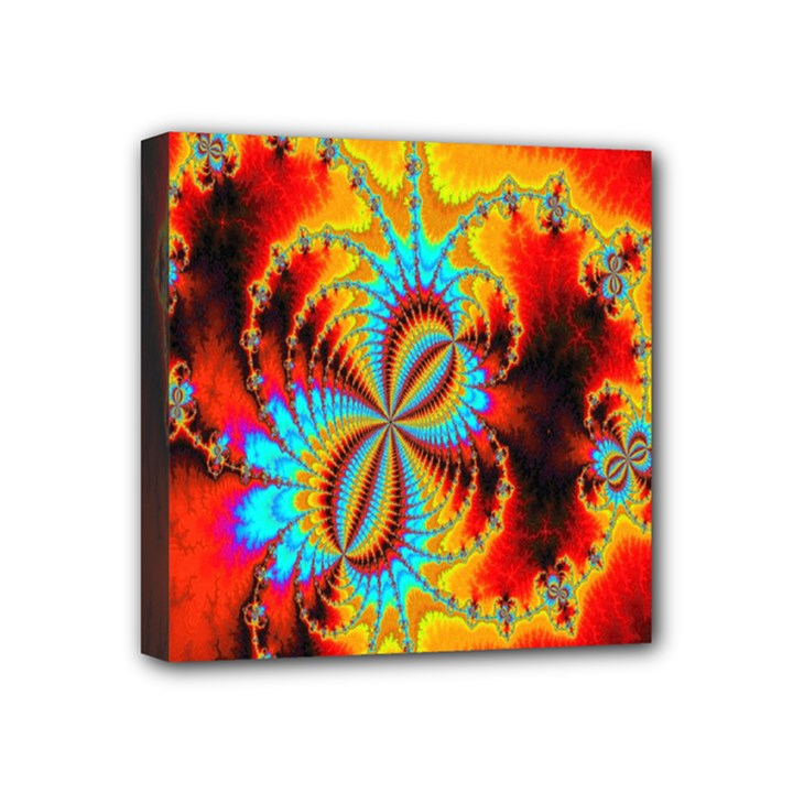 Crazy Mandelbrot Fractal Red Yellow Turquoise Mini Canvas 4  x 4