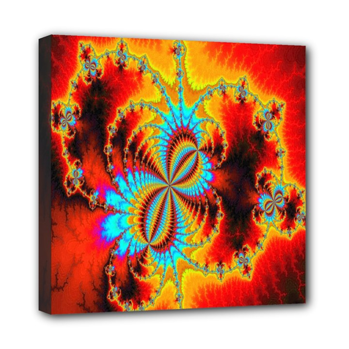 Crazy Mandelbrot Fractal Red Yellow Turquoise Mini Canvas 8  x 8