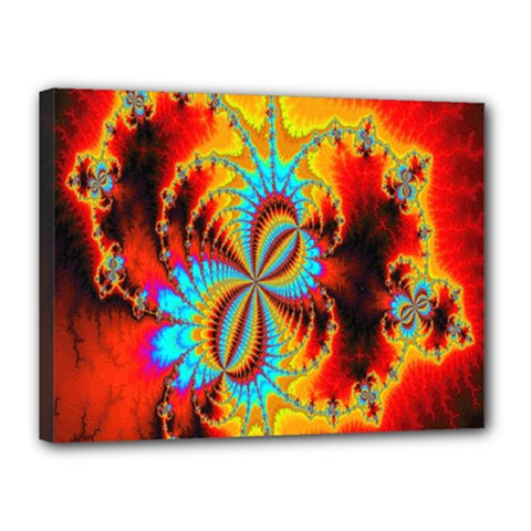 Crazy Mandelbrot Fractal Red Yellow Turquoise Canvas 16  x 12