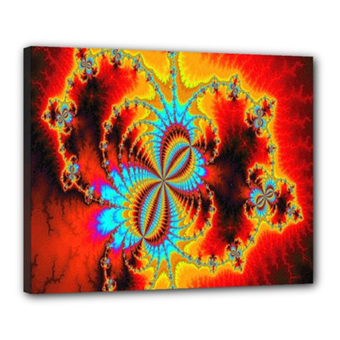Crazy Mandelbrot Fractal Red Yellow Turquoise Canvas 20  X 16