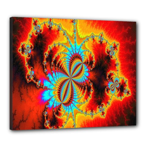 Crazy Mandelbrot Fractal Red Yellow Turquoise Canvas 24  x 20