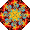 Crazy Mandelbrot Fractal Red Yellow Turquoise Straight Umbrellas View1