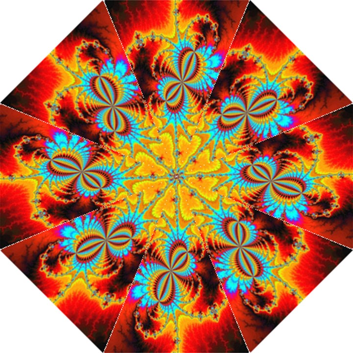 Crazy Mandelbrot Fractal Red Yellow Turquoise Straight Umbrellas