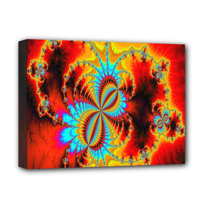 Crazy Mandelbrot Fractal Red Yellow Turquoise Deluxe Canvas 16  x 12