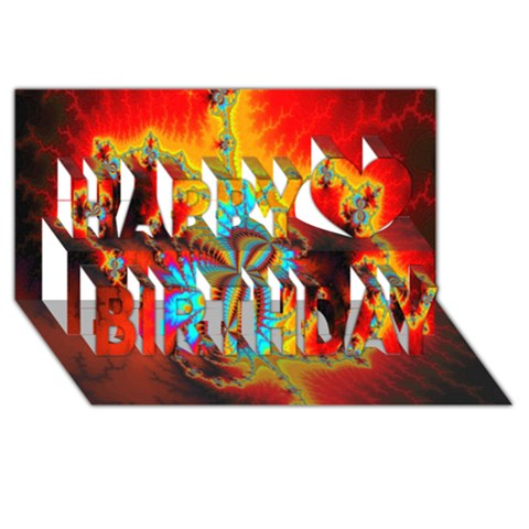 Crazy Mandelbrot Fractal Red Yellow Turquoise Happy Birthday 3D Greeting Card (8x4)