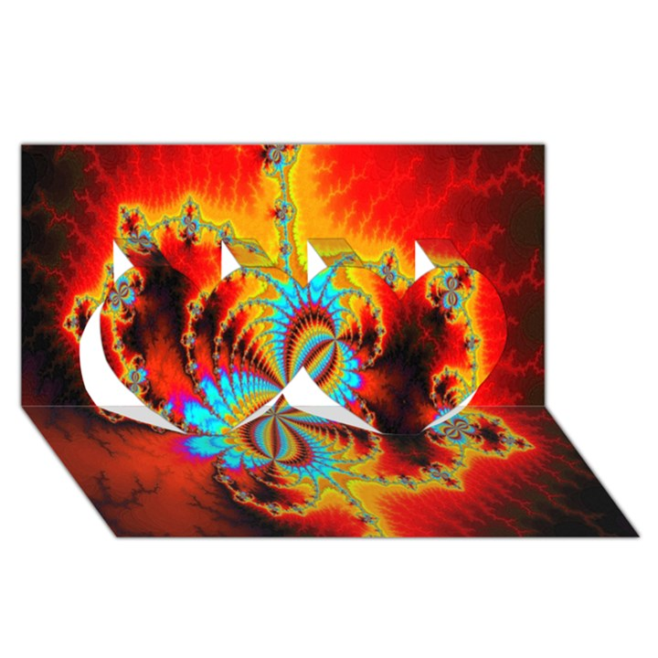 Crazy Mandelbrot Fractal Red Yellow Turquoise Twin Hearts 3D Greeting Card (8x4)