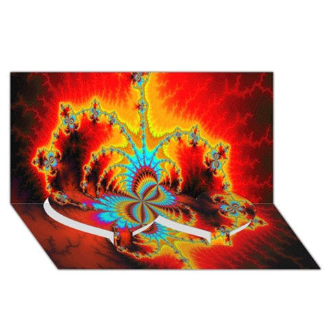 Crazy Mandelbrot Fractal Red Yellow Turquoise Twin Heart Bottom 3D Greeting Card (8x4)