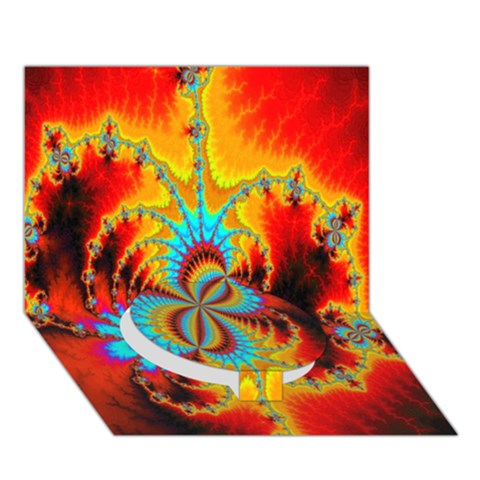 Crazy Mandelbrot Fractal Red Yellow Turquoise Circle Bottom 3D Greeting Card (7x5)