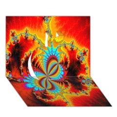 Crazy Mandelbrot Fractal Red Yellow Turquoise Apple 3D Greeting Card (7x5)