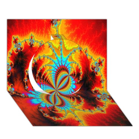 Crazy Mandelbrot Fractal Red Yellow Turquoise Circle 3D Greeting Card (7x5)