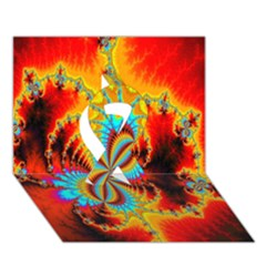 Crazy Mandelbrot Fractal Red Yellow Turquoise Ribbon 3d Greeting Card (7x5)