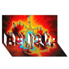 Crazy Mandelbrot Fractal Red Yellow Turquoise Believe 3d Greeting Card (8x4)