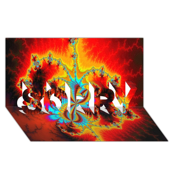 Crazy Mandelbrot Fractal Red Yellow Turquoise SORRY 3D Greeting Card (8x4)