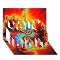 Crazy Mandelbrot Fractal Red Yellow Turquoise You Did It 3d Greeting Card (7x5)