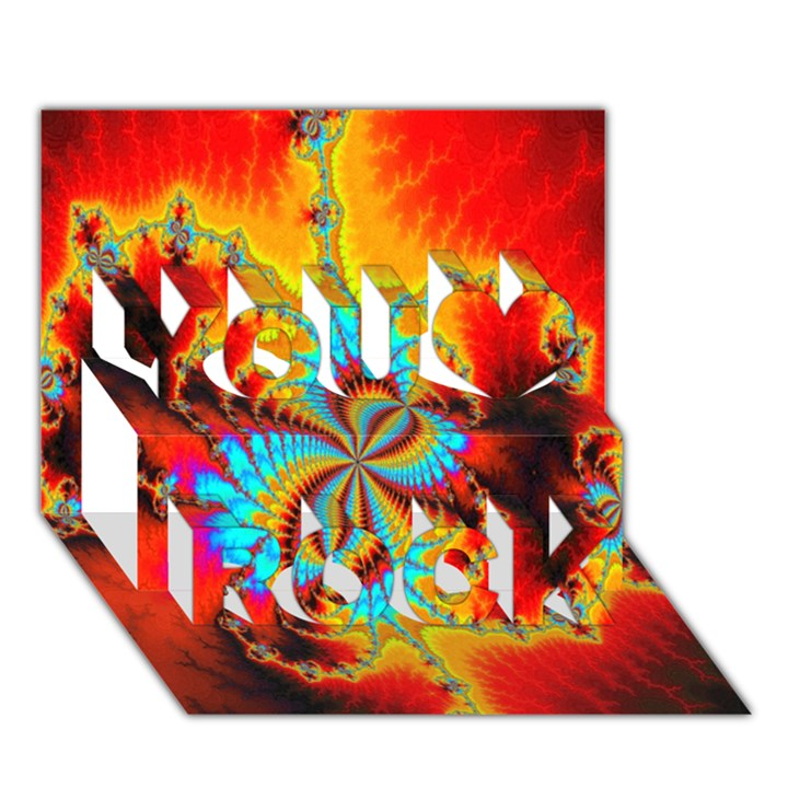 Crazy Mandelbrot Fractal Red Yellow Turquoise You Rock 3D Greeting Card (7x5)