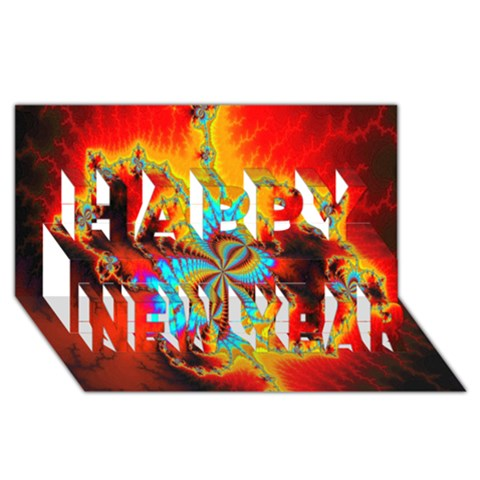 Crazy Mandelbrot Fractal Red Yellow Turquoise Happy New Year 3D Greeting Card (8x4)