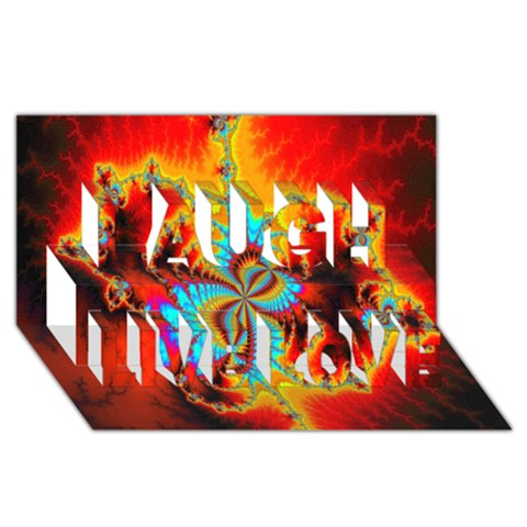 Crazy Mandelbrot Fractal Red Yellow Turquoise Laugh Live Love 3D Greeting Card (8x4)