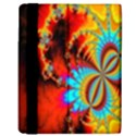 Crazy Mandelbrot Fractal Red Yellow Turquoise Kindle Fire (1st Gen) Flip Case View3