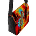 Crazy Mandelbrot Fractal Red Yellow Turquoise Flap Messenger Bag (S) View2